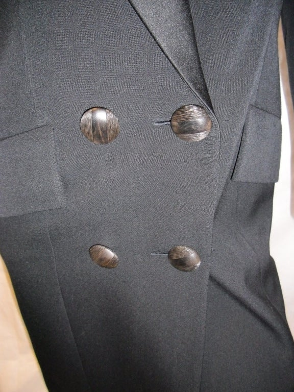 Yves Saint Laurent Haute Couture Tuxedo Coat dress c. 1980 image 5