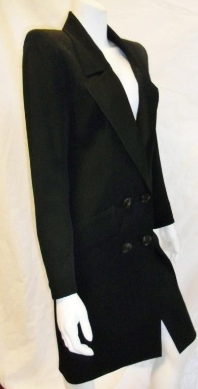 Yves Saint Laurent Haute Couture Tuxedo Coat dress c. 1980 image 6