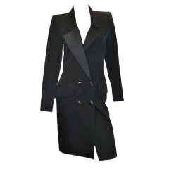 Yves Saint Laurent Haute Couture Tuxedo Coat dress c. 1980