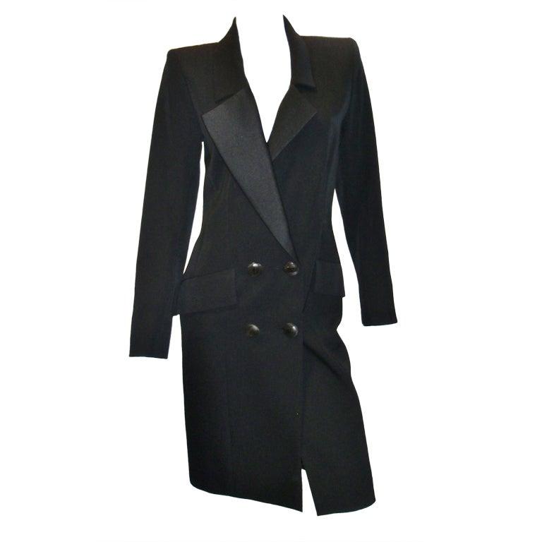 Yves Saint Laurent Haute Couture Tuxedo Coat dress c. 1980