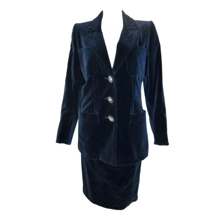 Vintage yves saint laurent haute couture velvet skirt suit for Haute couture suits