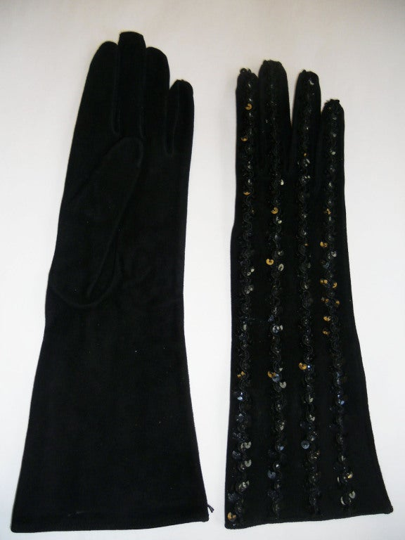 Yves  Saint Laurent  black  Leather Beaded Gloves image 3