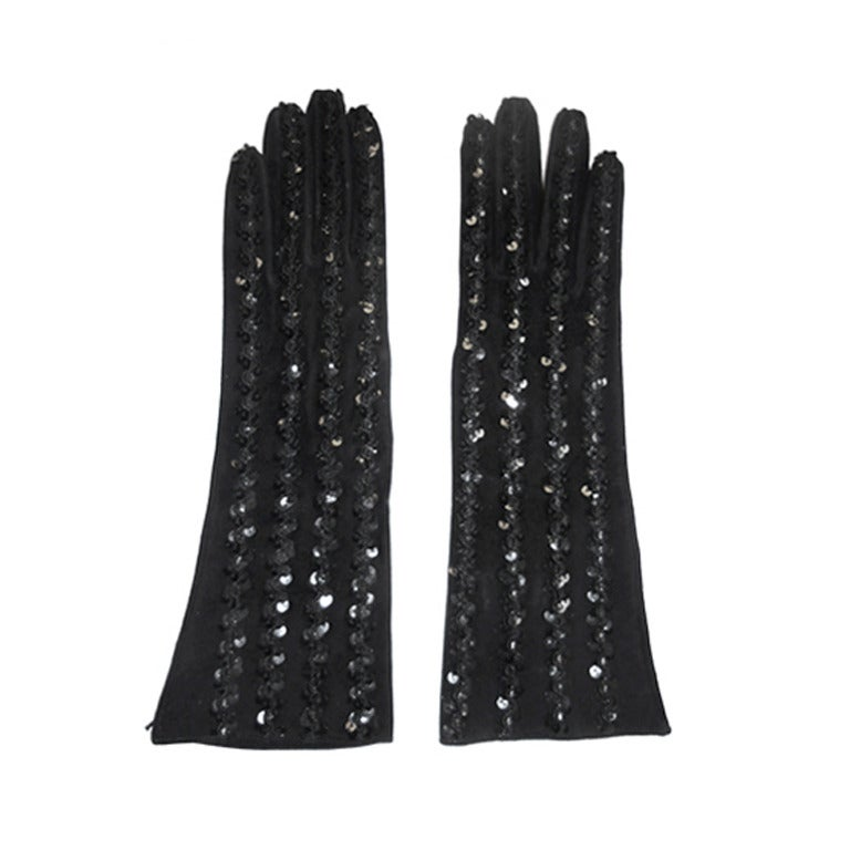 Yves  Saint Laurent  black  Leather Beaded Gloves
