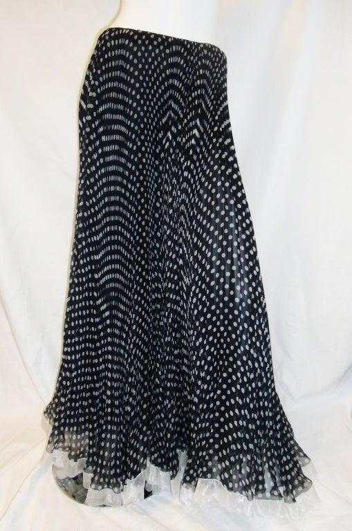 Geoffrey Beene Vintage micro pleated polka dot long skirt image 2