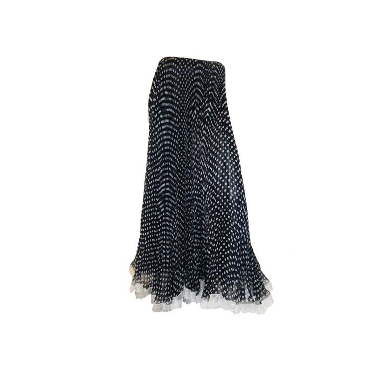 Geoffrey Beene Vintage micro pleated polka dot long skirt