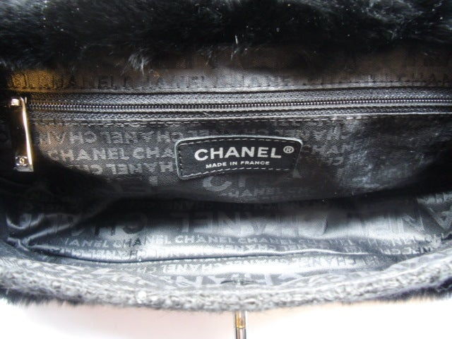 Coco Chanel  2.55 leather tweed fur bag For Sale 1