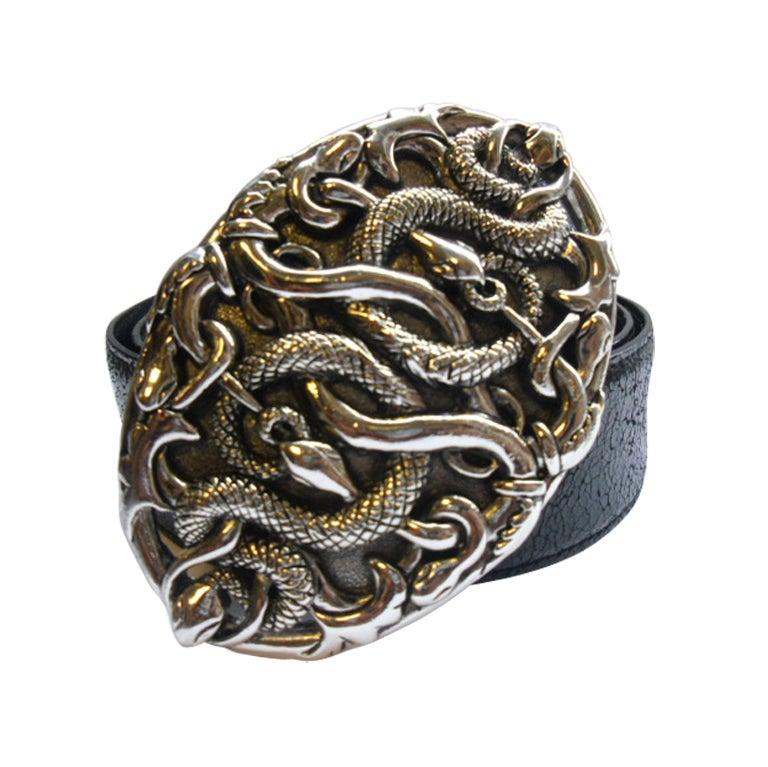 Versace Serpent Silver Buckle Belt At 1stdibs
