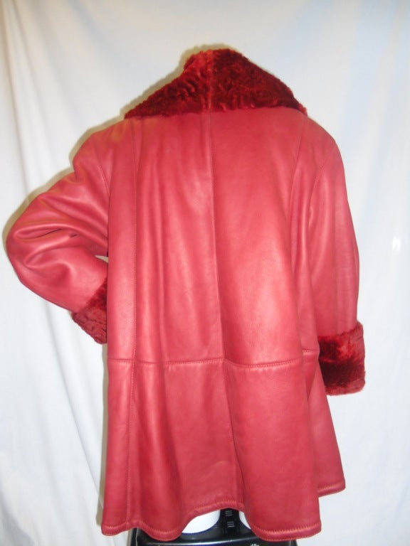 Valentino Red Short Swing Shearling Coat At 1stdibs