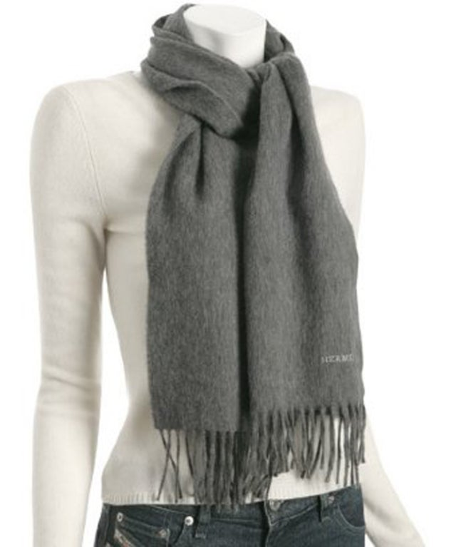 Hermes Cashmere Grey Scarf 2
