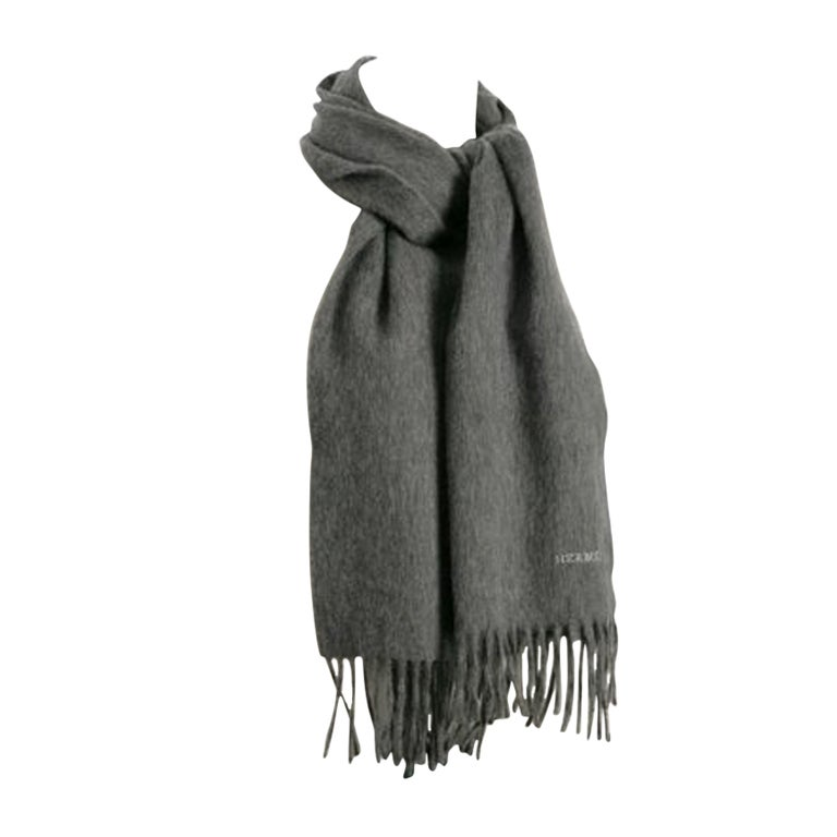 Hermes Cashmere Grey Scarf 1