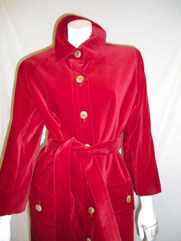 YVES SAINT LAURENT Red Velvet belted  Coat 2