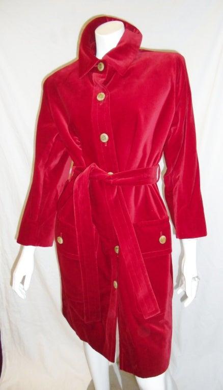 YVES SAINT LAURENT Red Velvet belted  Coat 3