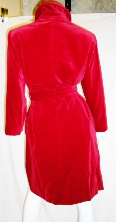 YVES SAINT LAURENT Red Velvet belted  Coat 4