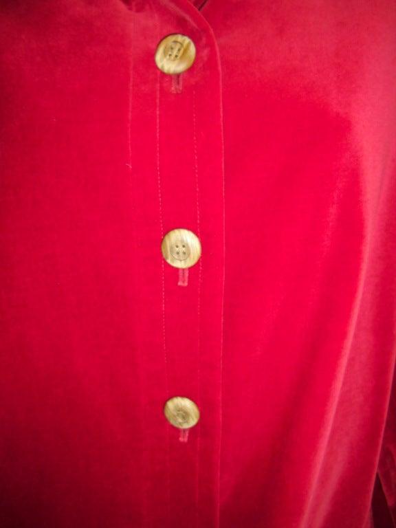 YVES SAINT LAURENT Red Velvet belted  Coat 5