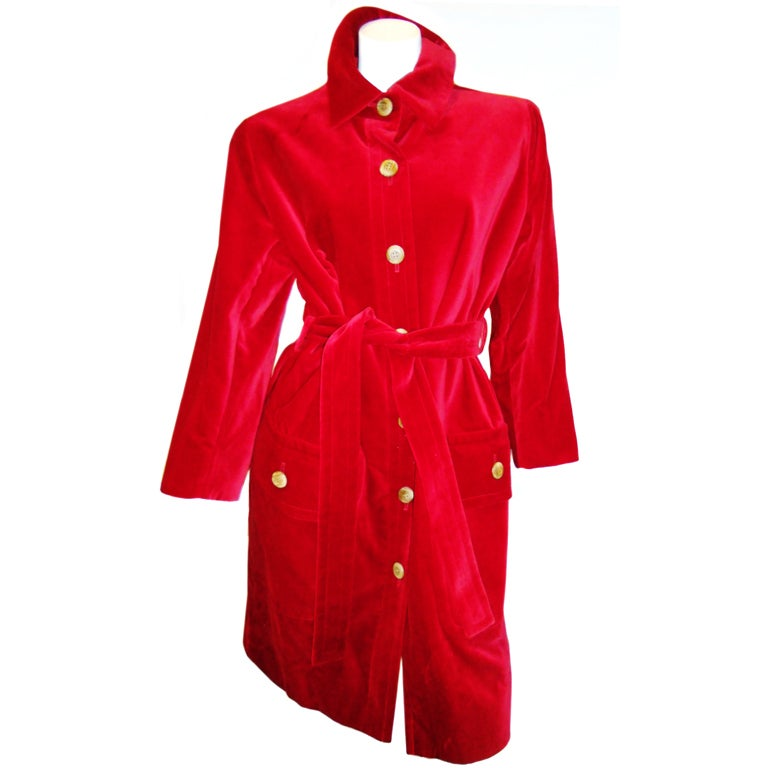 YVES SAINT LAURENT Red Velvet belted  Coat