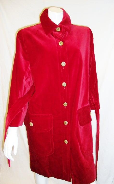 YVES SAINT LAURENT Red Velvet belted  Coat 7