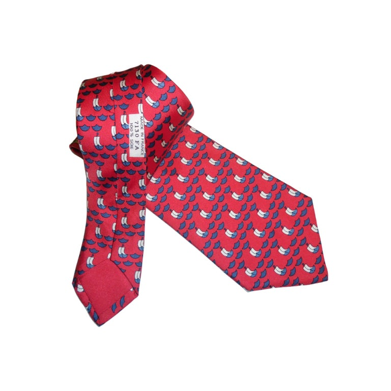 hermes vintage silk tie quot boat on the sea quot at 1stdibs