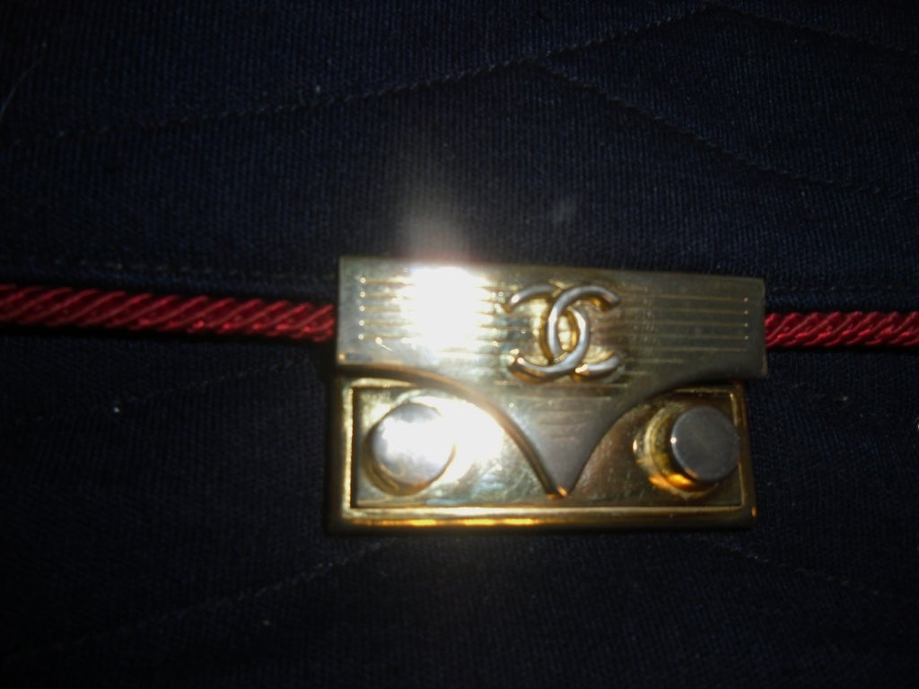 Chanel  Rare 2.55 Navy /Red  Jersey Bag with  Chain 1970 10