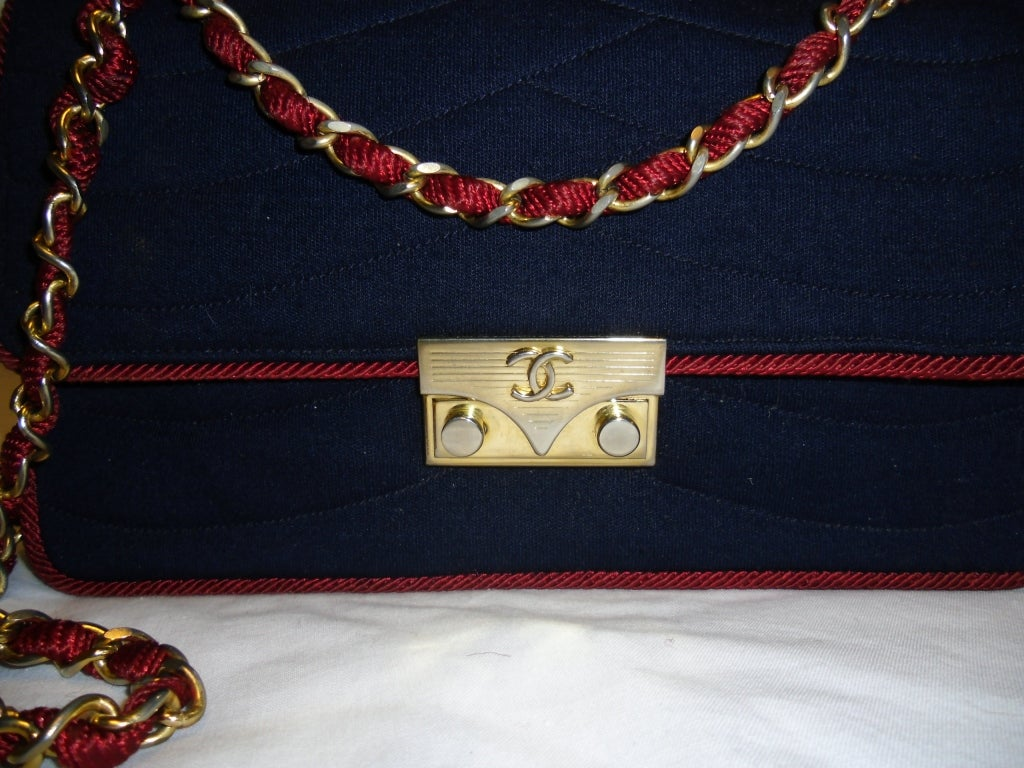 Chanel  Rare 2.55 Navy /Red  Jersey Bag with  Chain 1970 2