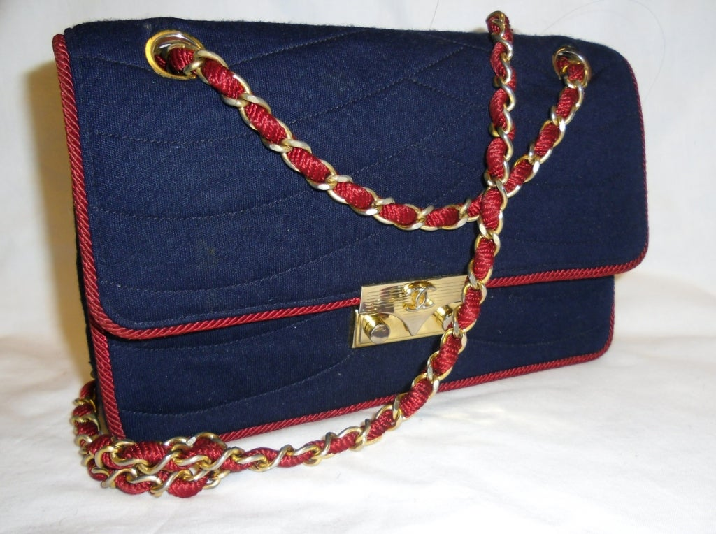 Chanel  Rare 2.55 Navy /Red  Jersey Bag with  Chain 1970 3