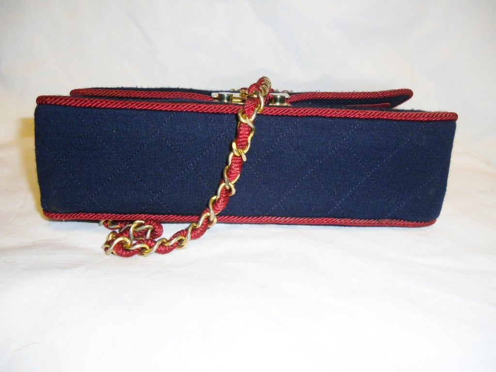 Chanel  Rare 2.55 Navy /Red  Jersey Bag with  Chain 1970 5