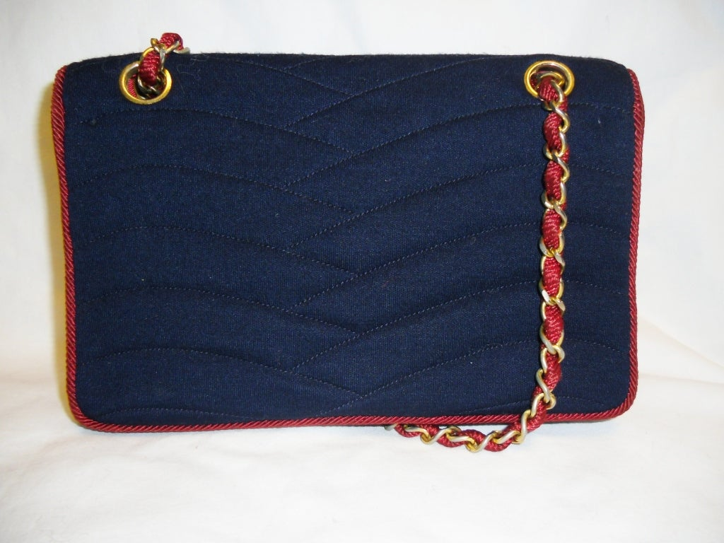 Chanel  Rare 2.55 Navy /Red  Jersey Bag with  Chain 1970 6