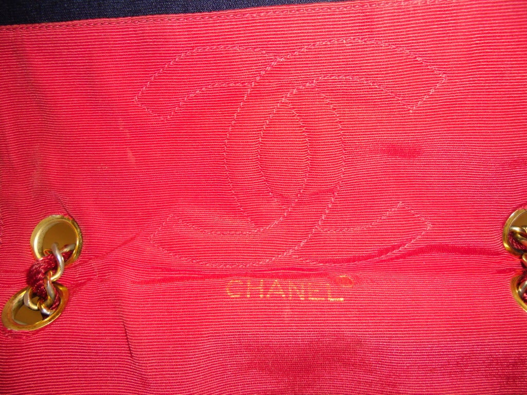 Chanel  Rare 2.55 Navy /Red  Jersey Bag with  Chain 1970 7
