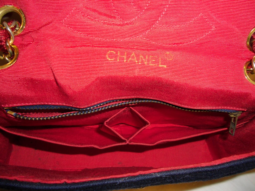 Chanel  Rare 2.55 Navy /Red  Jersey Bag with  Chain 1970 8