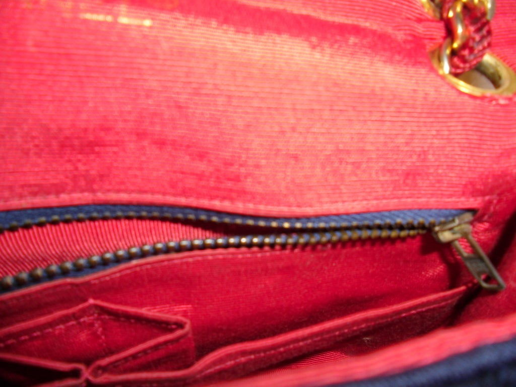 Chanel  Rare 2.55 Navy /Red  Jersey Bag with  Chain 1970 9