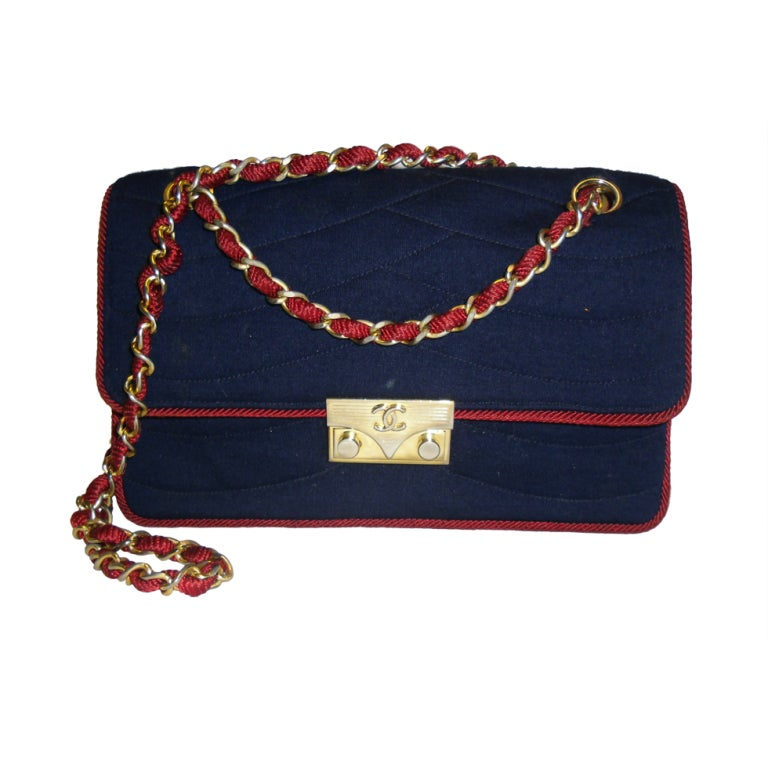 Chanel  Rare 2.55 Navy /Red  Jersey Bag with  Chain 1970 1