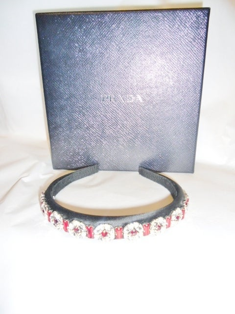 Prada Satin hairband with crystals image 3
