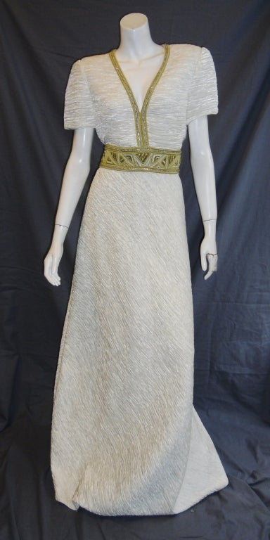 Mary Mcfadden White pleat Gown with Gold Embellishments sz 10 2