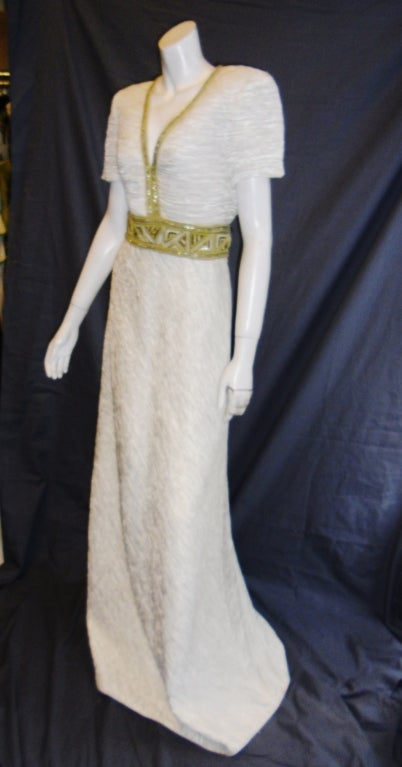 Mary Mcfadden White pleat Gown with Gold Embellishments sz 10 3