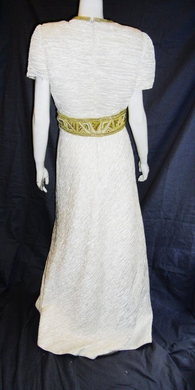 Mary Mcfadden White pleat Gown with Gold Embellishments sz 10 4