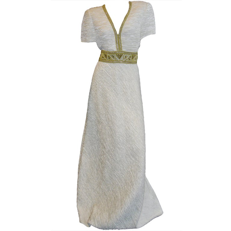 Mary Mcfadden White pleat Gown with Gold Embellishments sz 10 1