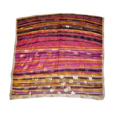 Pierre Balmain Signature Multicolor Silk Chiffon & Metallic Gold Scarf
