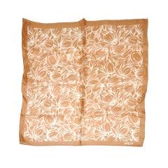 Adolfo beige & white floral print silk scarf