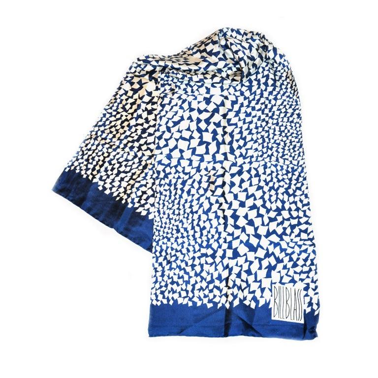Bill Blass Navy & White Silk scarf For Sale