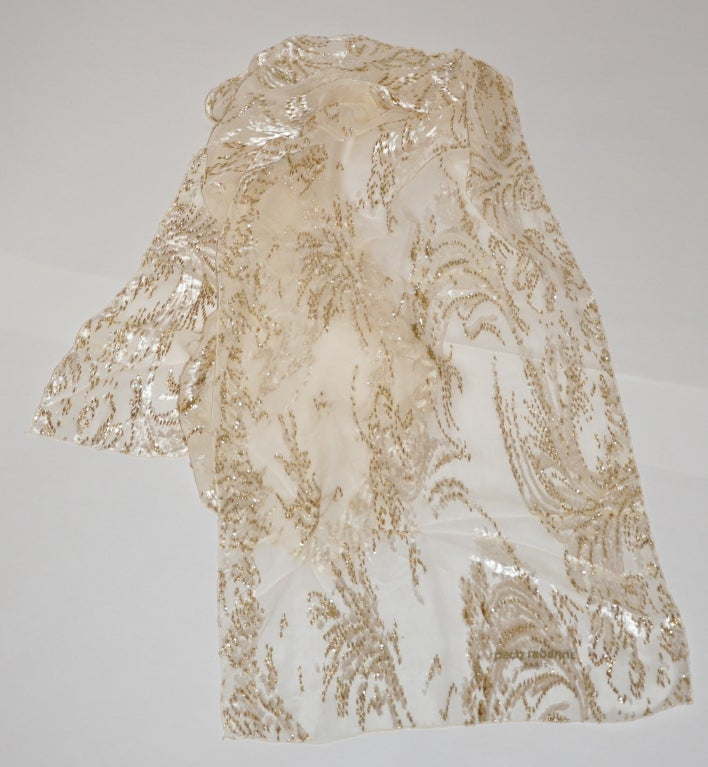 Large Paco Rabanne Cream Silk Chiffon with Gold Lame and Velvet Scarf 2