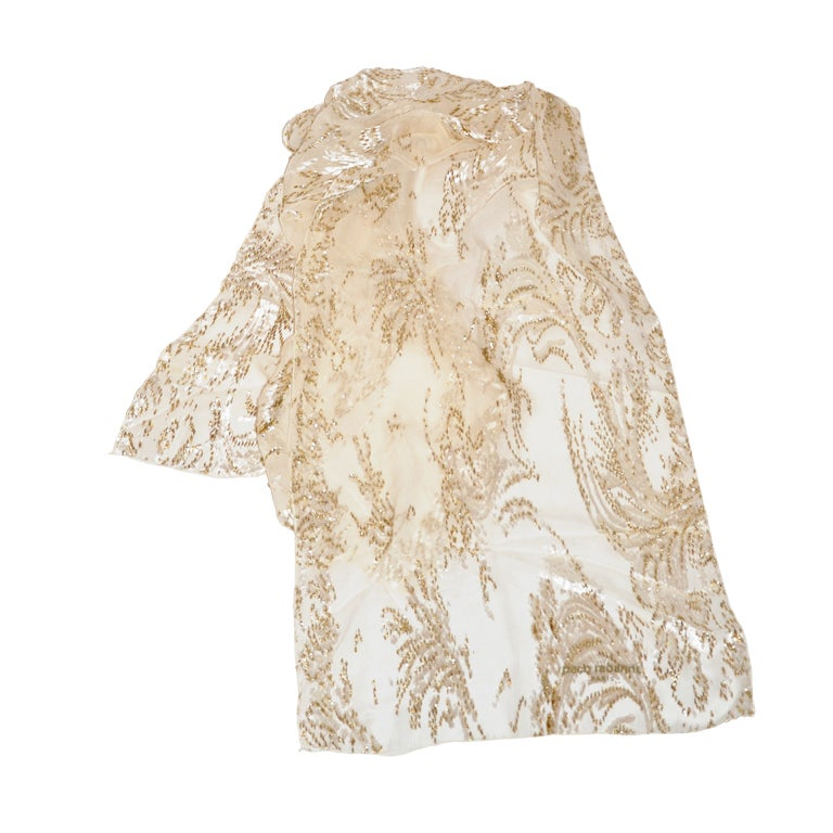 Large Paco Rabanne Cream Silk Chiffon with Gold Lame and Velvet Scarf 1