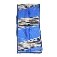 "Oscar De la Renta blue ""Zebra"" print silk scarf"
