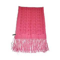 Emanuel Ungaro Bold Fuchsia Detailed Embroidered Silk Chiffon Scarf
