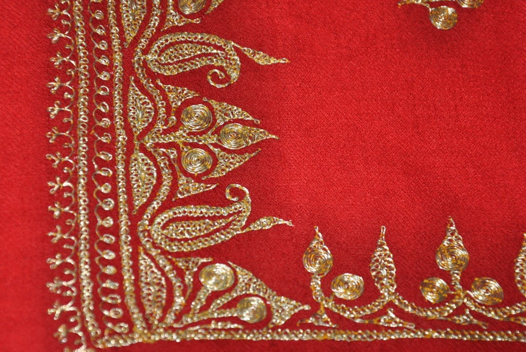 Deep Red Wool Challis with Metallic Gold Lame Hand Embroidery Shawl In Good Condition For Sale In New York, NY