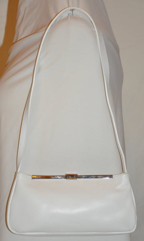 Furla white with silver hardware small shoulder bag 2