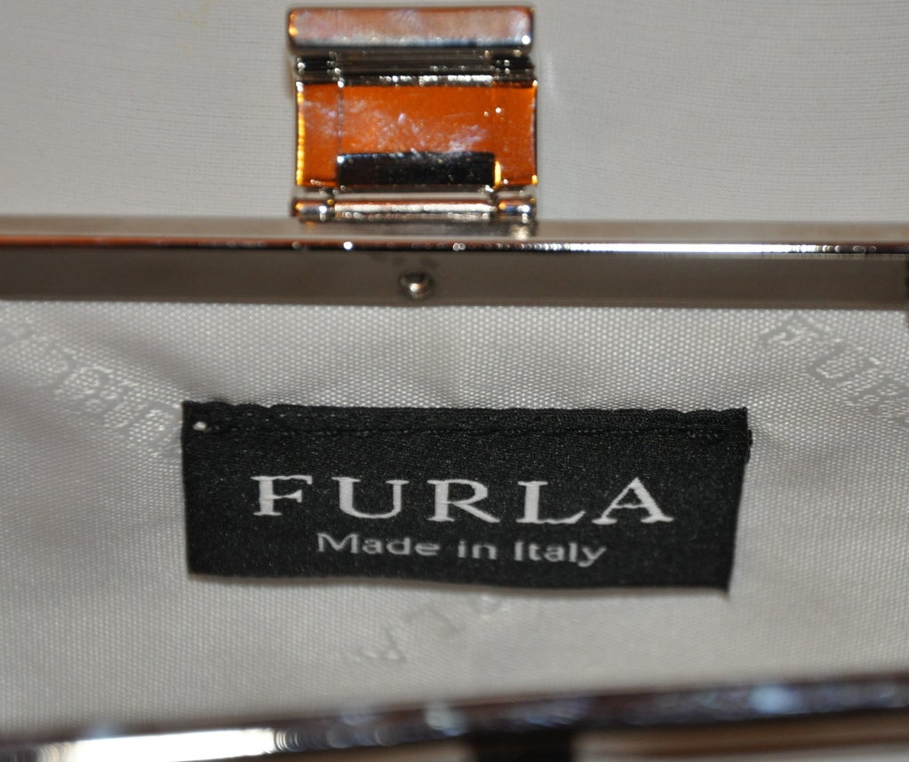 Furla white with silver hardware small shoulder bag 4