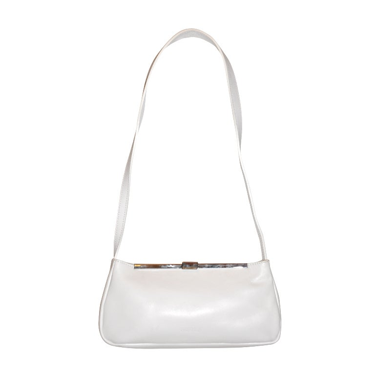 Furla white with silver hardware small shoulder bag For Sale
