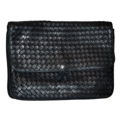 Peruzzi Black woven lambskin clutch with optional straps