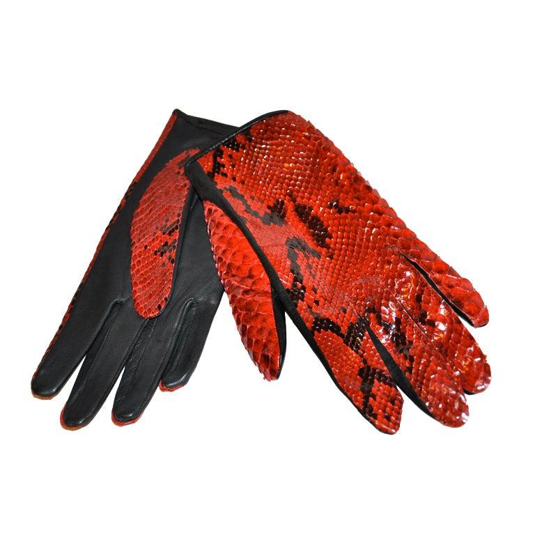 Yves Saint Laurent Red & Black Pylon skin gloves