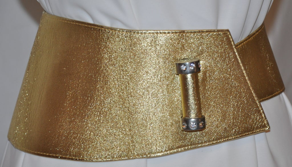 Lasso (France) metallic gold lambskin wrap belt with hardware 2