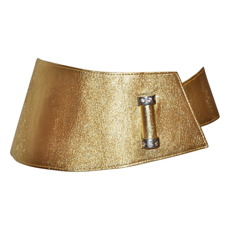 Lasso (France) metallic gold lambskin wrap belt with hardware 1